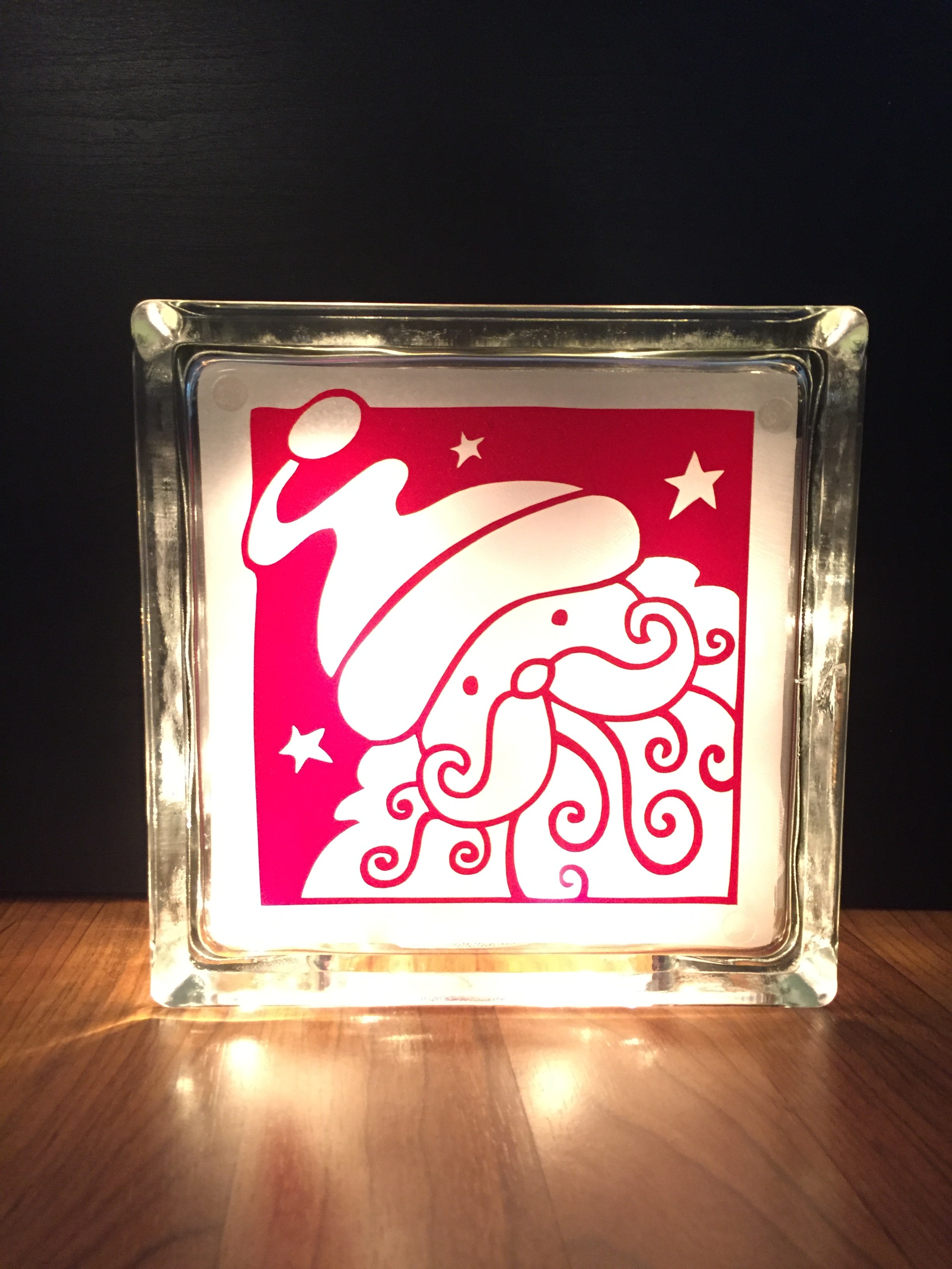 Christmas Lighted Glass Block Createfully Yours